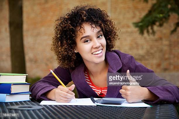 Successful student doing homework