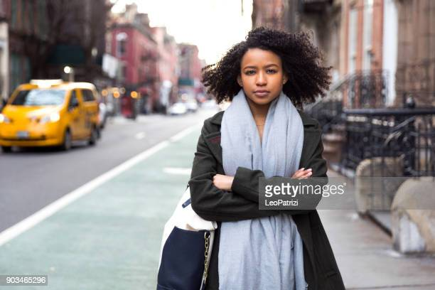 Successful woman posing in the Village in New York