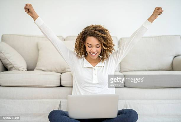 Successful woman working online