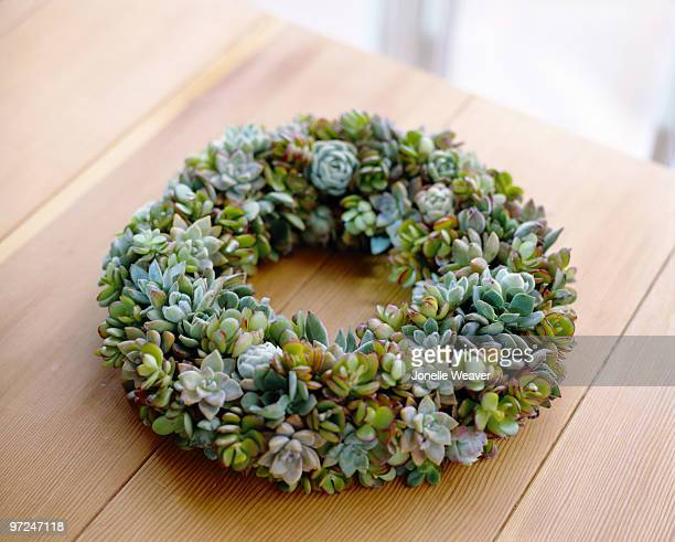 Succulent wreath on table