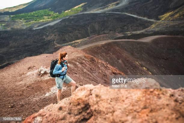 sucessful hiking adventure - etna foto e immagini stock