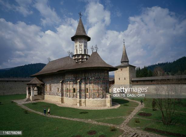 Sucevita Monastery , with frescoed outside walls, Romania, 16th century.