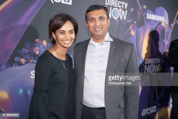 Suchi Patel and ATT Senior EVP of Digital Retail and Care Rasesh Patel attend the 2018 DIRECTV NOW Super Saturday Night Concert at NOMADIC LIVE at...