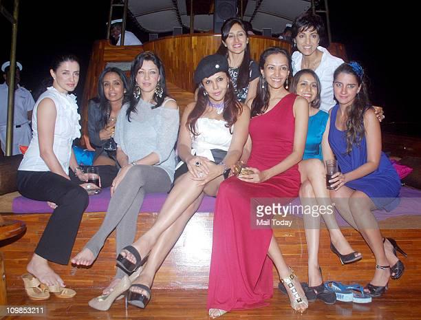 Suchitra Pillai Aditi Govitrikar Nisha Jamwal Teejay Sidhu Dipannita Sharma Jesse Randhawa and Shruti Seth during Dipannita Sharma's yacht party in...