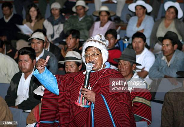Justo Phaxi se dirige a los asistentes de una reunion de la Asamblea Nacional de Organizaciones indigenas Originarias de Campesinos de Bolivia el 04...