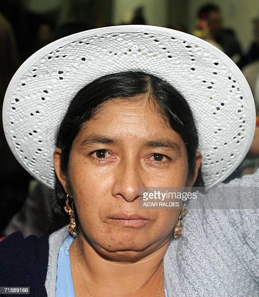 La dirigente indigena Silvia Lazarte participa en una reunion de asambleistas el 04 de agosto de 2006 en la capital constitucional de Boilivia Sucre...