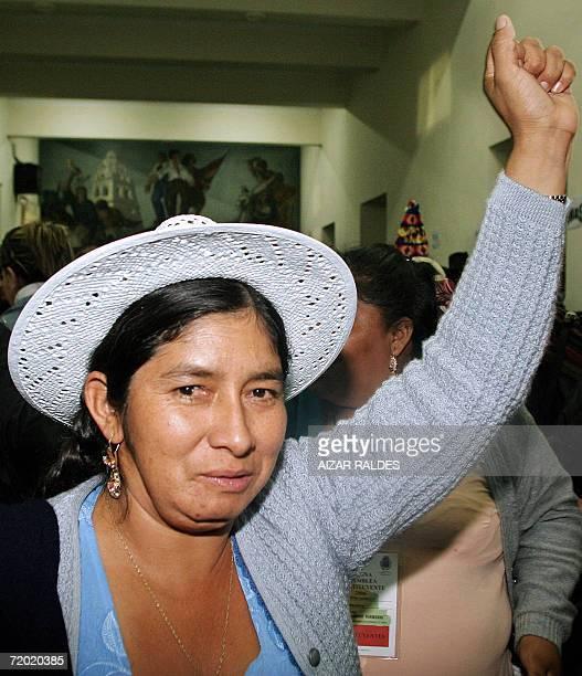 La indigena quechua Silvia Lazarte participa de una reunion de asambleistas el 04 de agosto de 2006 donde fue elegida como presidente de la Asamblea...