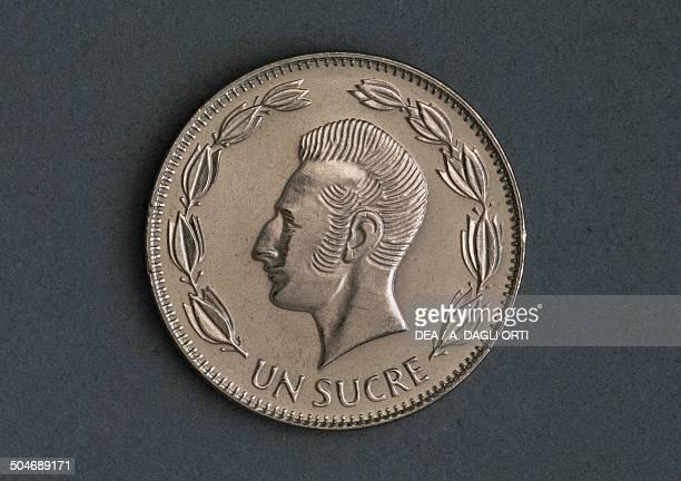 1 sucre coin reverse Antonio Jose de Sucre Ecuador 20th century
