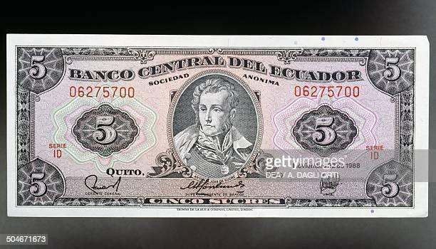 5 sucres banknote obverse Antonio Jose de Sucre Ecuador 20th century