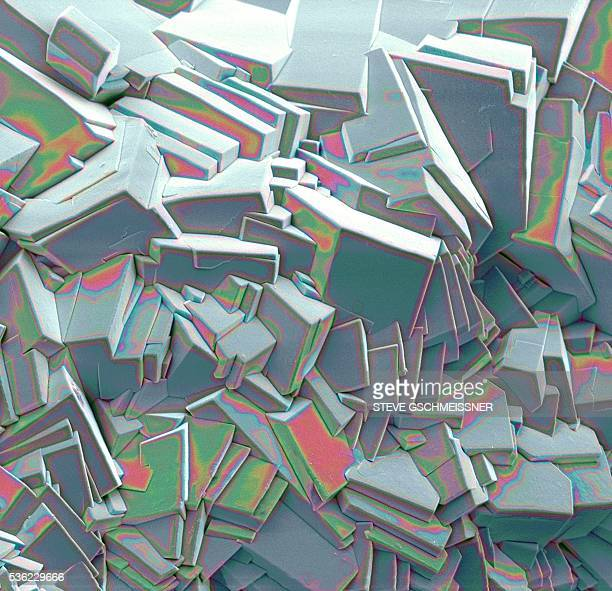 sucrose crystals, sem - scanning electron microscope stock pictures, royalty-free photos & images