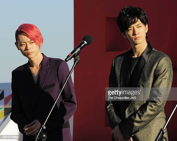 Suda Masaki and Nakajima Yuto attend the greeting session for the movie 'Pink and Gray' at BIFF Village on October 2 2015 in Busan South Korea