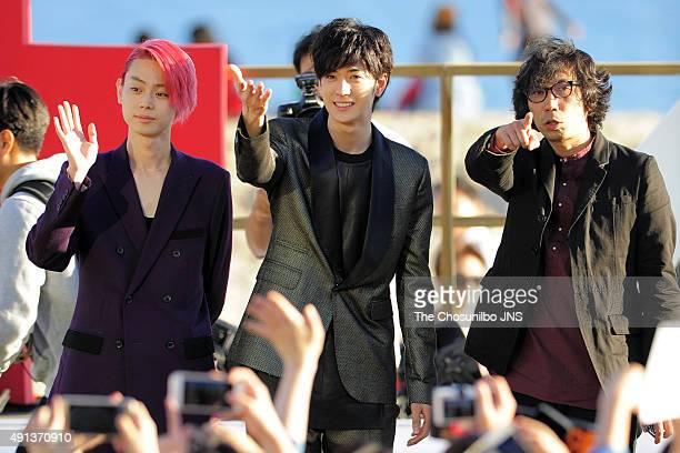 Suda Masaki Nakajima Yuto and Yukisada Isao attend the greeting session for the movie 'Pink and Gray' at BIFF Village on October 2 2015 in Busan...