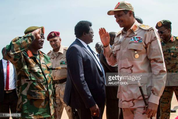Sudan deputy Head of Military Council Mohamed Hamdan Dagalo is welcomed at Juba international airport upon his arrival from Khartoum on July 27 2019...