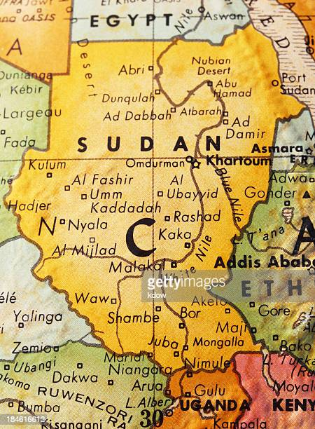 sudan on the map - gulu stock photos and pictures