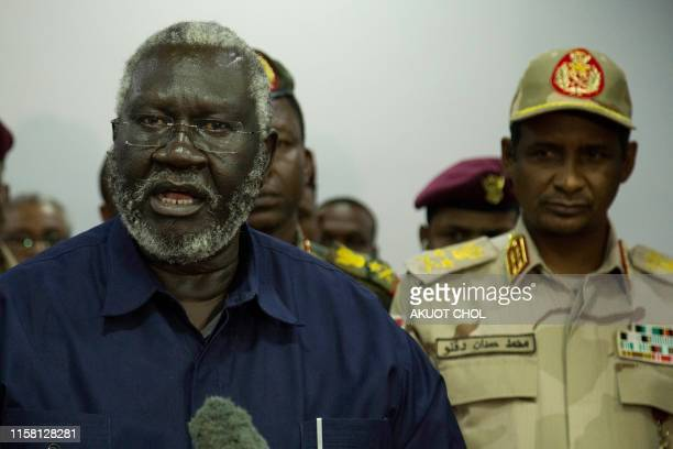 Sudan People Liberation MovementNorth and Blue Nile state rebel leader Malik Agar flanked by Sudanese Deputy head of the Transitional Military...