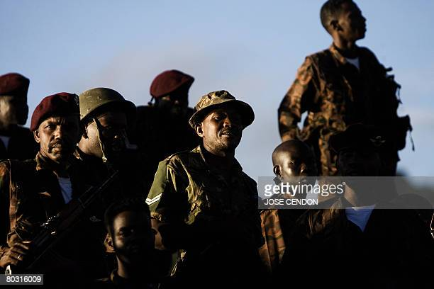 Sudanese African Union troops disembark in the port of Fomboni the capital of Moheli on 20 March 2008 A first detachment of 300 Sudanese and...