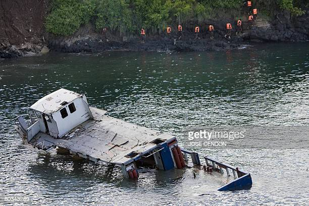 Sudanese African Union troops wearing lifejackets undertake military training exercises near a wreck close to Fomboni the capital of Comoros island...