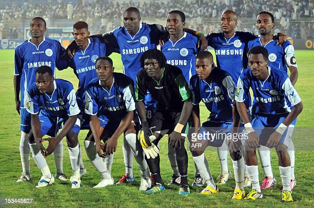 Sudanese alHilal club players pose for a picture before the start of their match against Sudan's alAhly Shandy for the CAF Confederation Cup on...