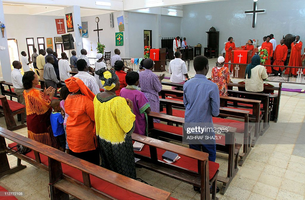 Sudanese Christians pray at a church in : News Photo