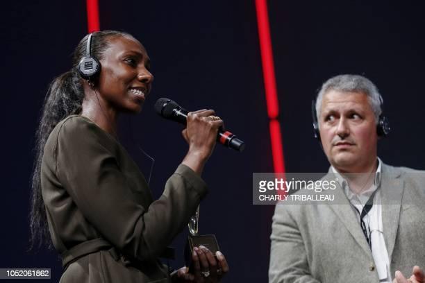 "Sudanese correspondent Nima Elbagir and photojournalist Alex Platt receive the ""Trophee television : Prix Amnesty international"" award for their work..."