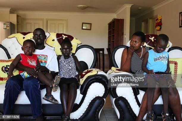 Sudanese Deborah Manyang David Thon and children Adut Thon and Deng at a family home on January 30 2017 in Tamworth Australia Tamworth is a large...