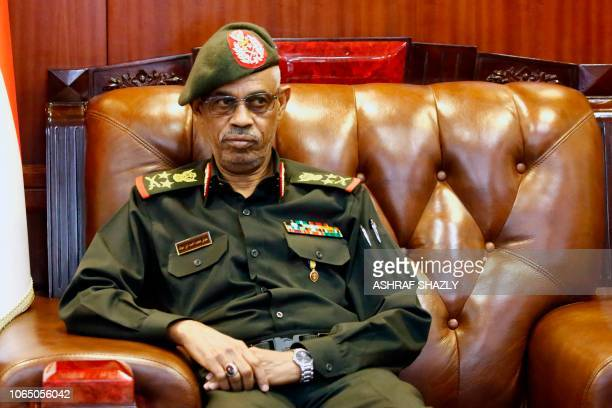 Sudanese Defence Minister Ahmed Awad Ibn Auf meets his Egyptian counterpart in Khartoum on November 25 2018 Sudan's President Omar alBashir in...