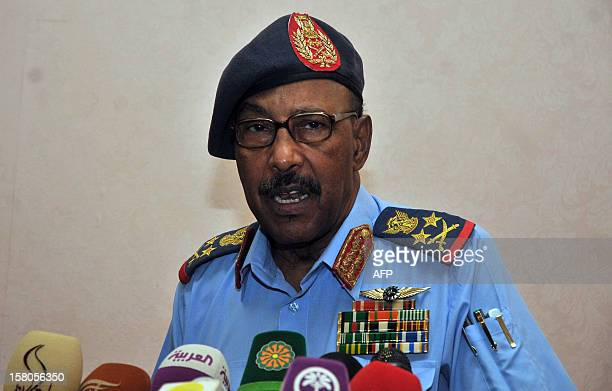 Sudanese Defense Minister Abdelrahim Mohammed Hussein speaks during a joint press conference with South Sudan's Defence Minister John Kong Nyuon on...