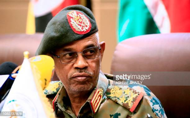 Sudanese Defense Minister Awad Mohammed Ahmed bin Auf attends a meeting of Chiefs of Staff of the Eastern and Central African States in the capital...