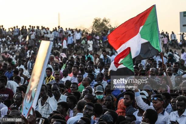 Sudanese demonstrators gather in front of military headquarters during a demonstration after The Sudanese Professionals Association's call, demanding...
