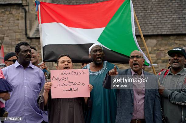 Sudanese demonstrators outside the Scottish Parliament call on the Scottish and UK Government to take action on the situation in Sudan where many...