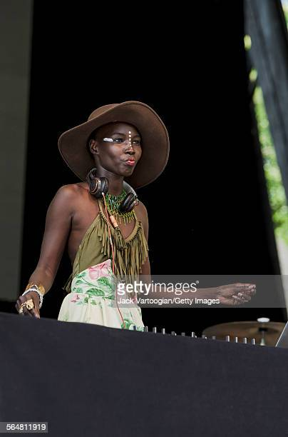 Sudanese DJ Stiletto performs at Central Park SummerStage New York New York June 7 2015 She performed with rapper Emmanuel Jal