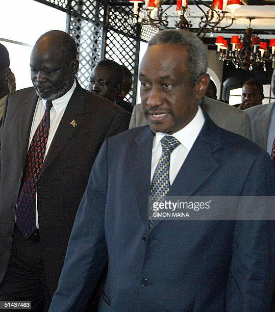 Sudanese first vicepresident Ali Osman Taha and John Garang of Sudan People Liberation Army arrive at the venue before the opening of fresh round of...