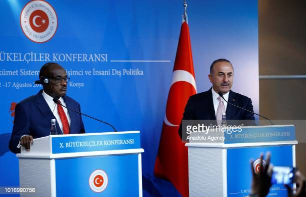 Sudanese Foreign Minister ElDirdeiry Mohamed Ahmed and Minister of Foreign Affairs of Turkey Mevlut Cavusoglu hold a joint press conference after...