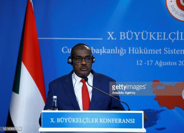 Sudanese Foreign Minister ElDirdeiry Mohamed Ahmed is seen during joint press conference with Minister of Foreign Affairs of Turkey Mevlut Cavusoglu...