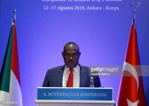 Sudanese Foreign Minister ElDirdeiry Mohamed Ahmed makes a speech at the 10th Ambassadors' Conference chaired by Minister of Foreign Affairs of...