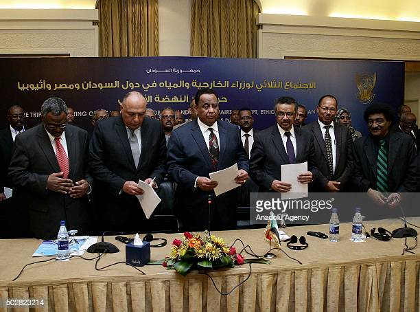Sudanese Foreign Minister Ibrahim Ghandour Egyptian Foreign Minister Sameh Shoukry and Ethiopian Foreign Minister Tedros Adhanom attend a press...