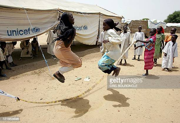 Sudanese girls jump cord in their school grounds in the Internally Displaced Persons camp of Sisi homing over 20000 people 35 kilometers southeast of...