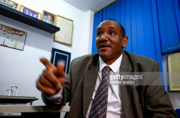 Sudanese lawyer Moaz Hadra, representative of the indictment committee in the trial of the former president Omar al-Bashir, speaks during an...