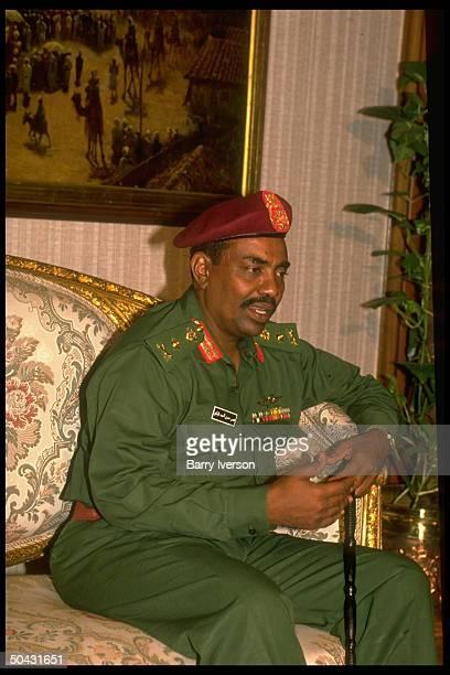 Sudanese ldr. Omar al-Bashir during mtg. W. Pres. Mubarak.