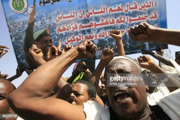 Sudanese men demonstrate in Khartoum on March 6 2009 against the International Criminal Court arrest warrant issued for President Omar AlBeshir for...