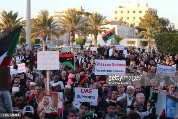 Sudanese people gather to stage a demonstration against their nationals those who joined Libya's renegade commander Khalifa Haftar at Independence...