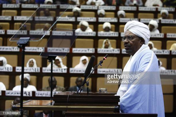 TOPSHOT Sudanese President Omar alBashir addresses parliament in the capital Khartoum on April 1 2019 in his first such speech since he imposed a...