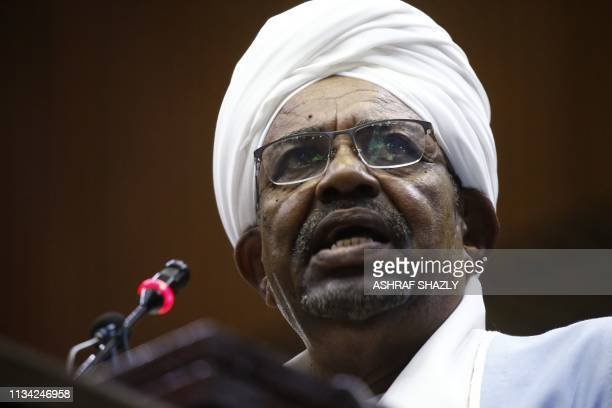 Sudanese President Omar alBashir addresses parliament in the capital Khartoum on April 1 2019 in his first such speech since he imposed a state of...