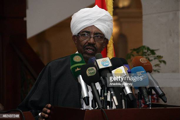 Sudanese President Omar al-Bashir and his Chadian counterpart Idriss Deby hold a joint press conference following their meeting in Khartoum, Sudan,...