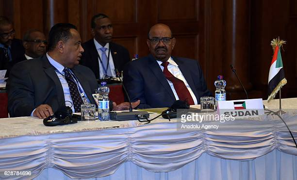 Sudanese President Omar al-Bashir and Sudanese foreign minister Ibrahim Ghandour attend the 29th Intergovernmental Authority on Development summit in...