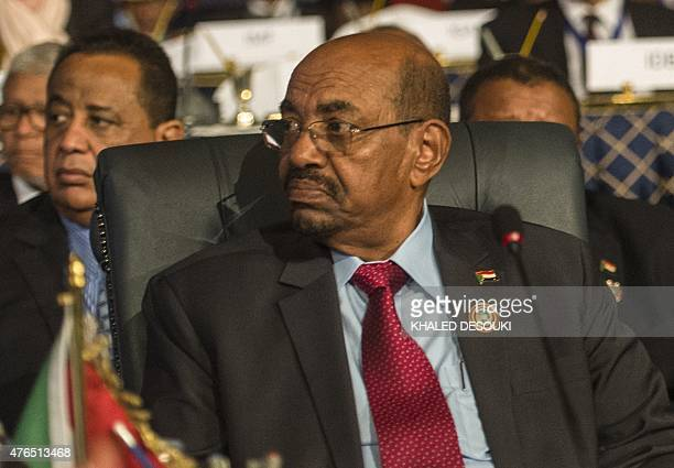 Sudanese President Omar alBashir attends the closing session of an African summit meeting in the Egyptian resort of Sharm elSheikh on June 10 2015...