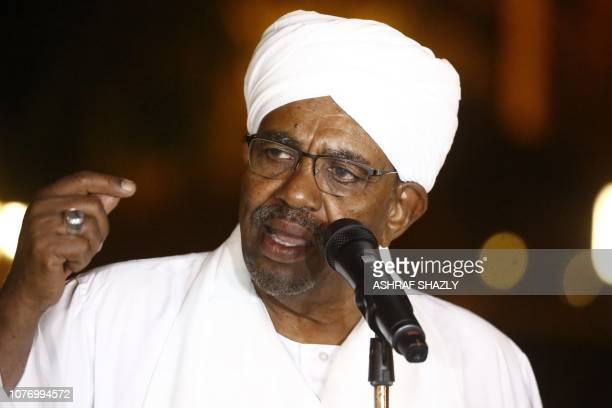 Sudanese President Omar alBashir delivers a speech at the presidential palace in the capital Khartoum on January 3 2019