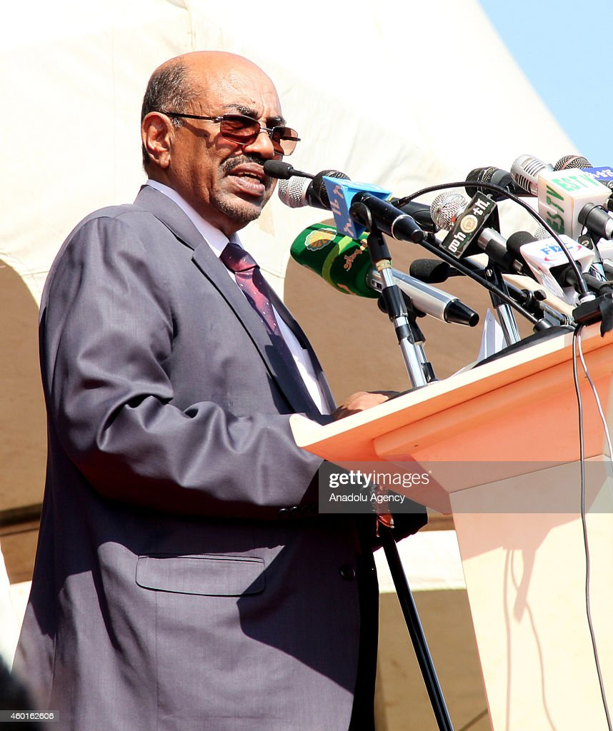 Sudanese President Omar al-Bashir delivers a speech during a ceremony marking the 9th Nations, Nationalities and People's Day at Asosa stadium in the western city of Assosa, capital of Benishangul-Gumuz State on December 8, 2014. Ethiopians turned the anniversary into a national event nine years ago, dubbing it 'Nations' and Nationalities Day,' during which they celebrate the country's unity and its cultural, religious, linguistic and ethnic diversity.