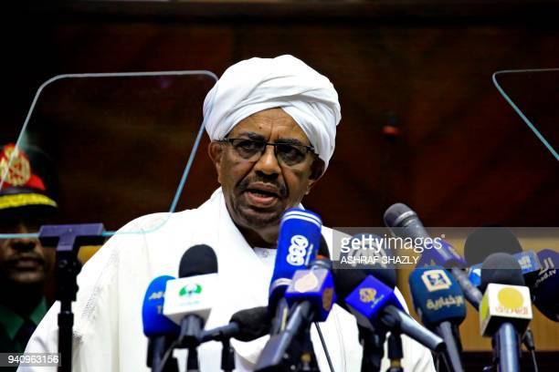 Sudanese President Omar alBashir delivers a speech to the members of the parliamentary body of the ruling National Congress Party on April 2 2018 in...