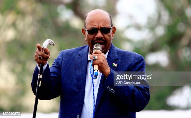 Sudanese President Omar alBashir gives a speech in Nyala the capital of South Darfur province on September 21 2017 Bashir wanted by the International...